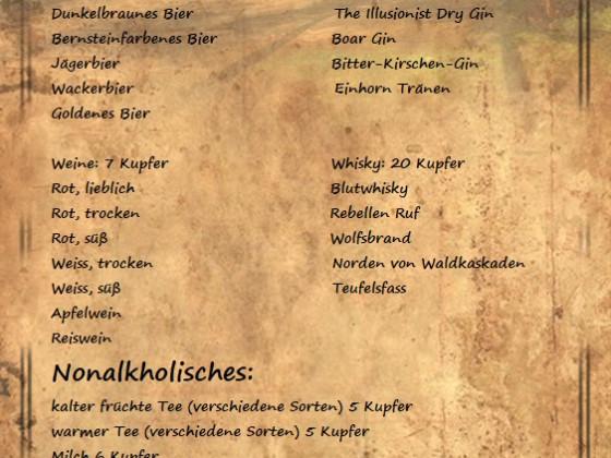 Wildschwein Hut Speise-, Getränkekarte & Schwarzes Brett