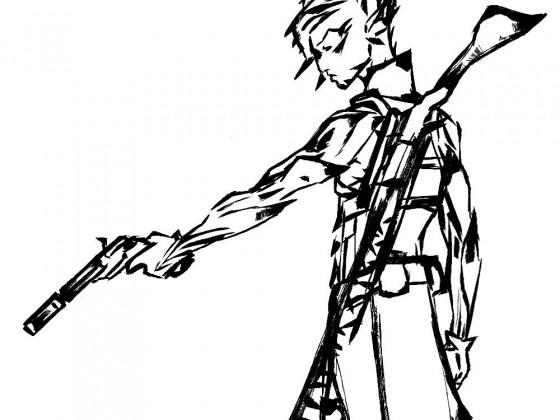 Carcair mit Pistole